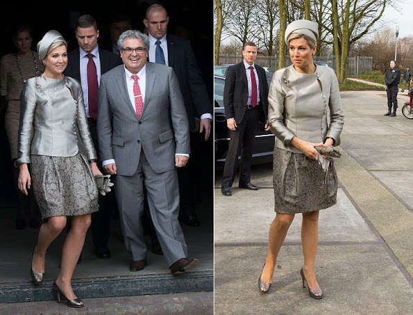 Queen Maxima of The Netherlands arrives in the Westergasfabriek (Westergasfactory) for the 10-year-anniversary of the Leerorkest (Learing-orchestra)
