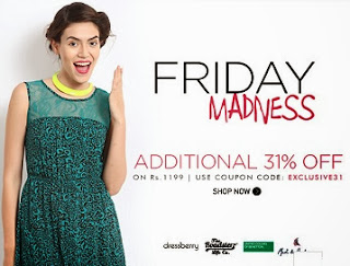 Myntra Friday Madness: Flat 31% additional off on Cart Value of Rs.1199 Only