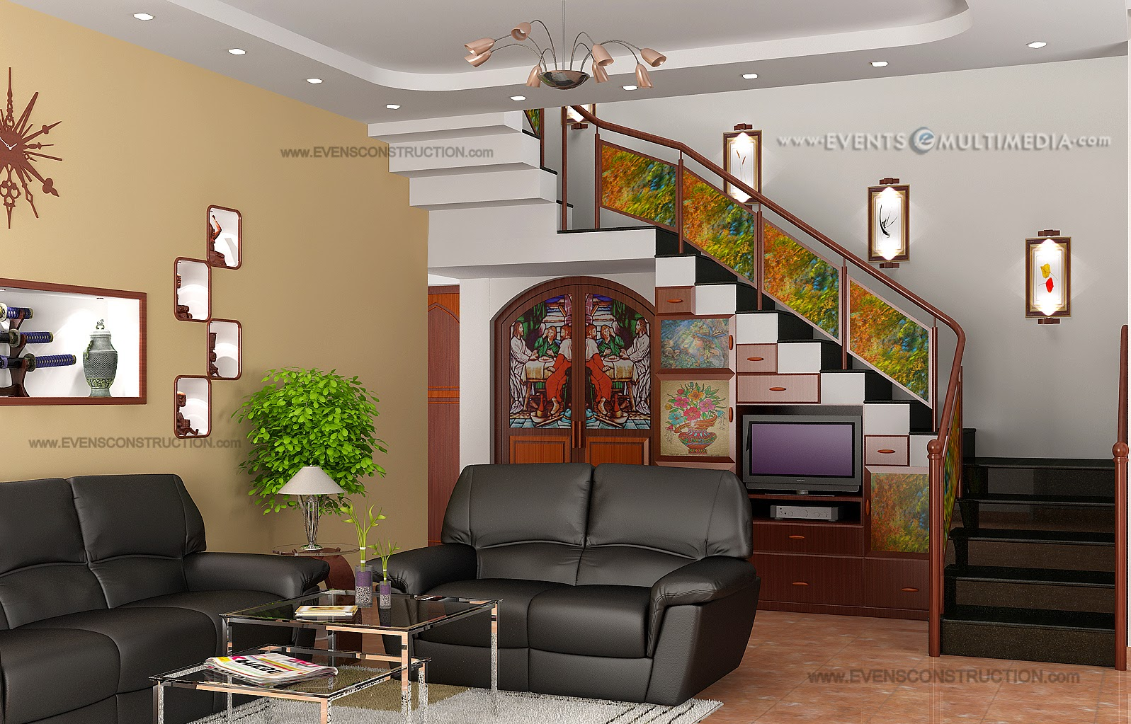 evens construction pvt ltd living room near stair area