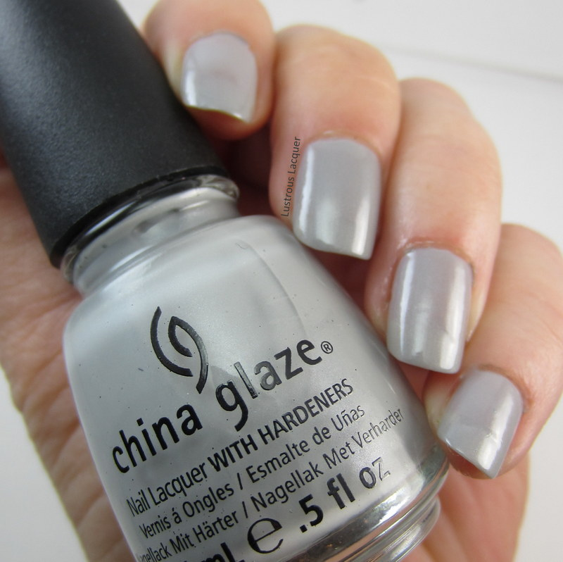 Grey nail polish with silver micro shimmer