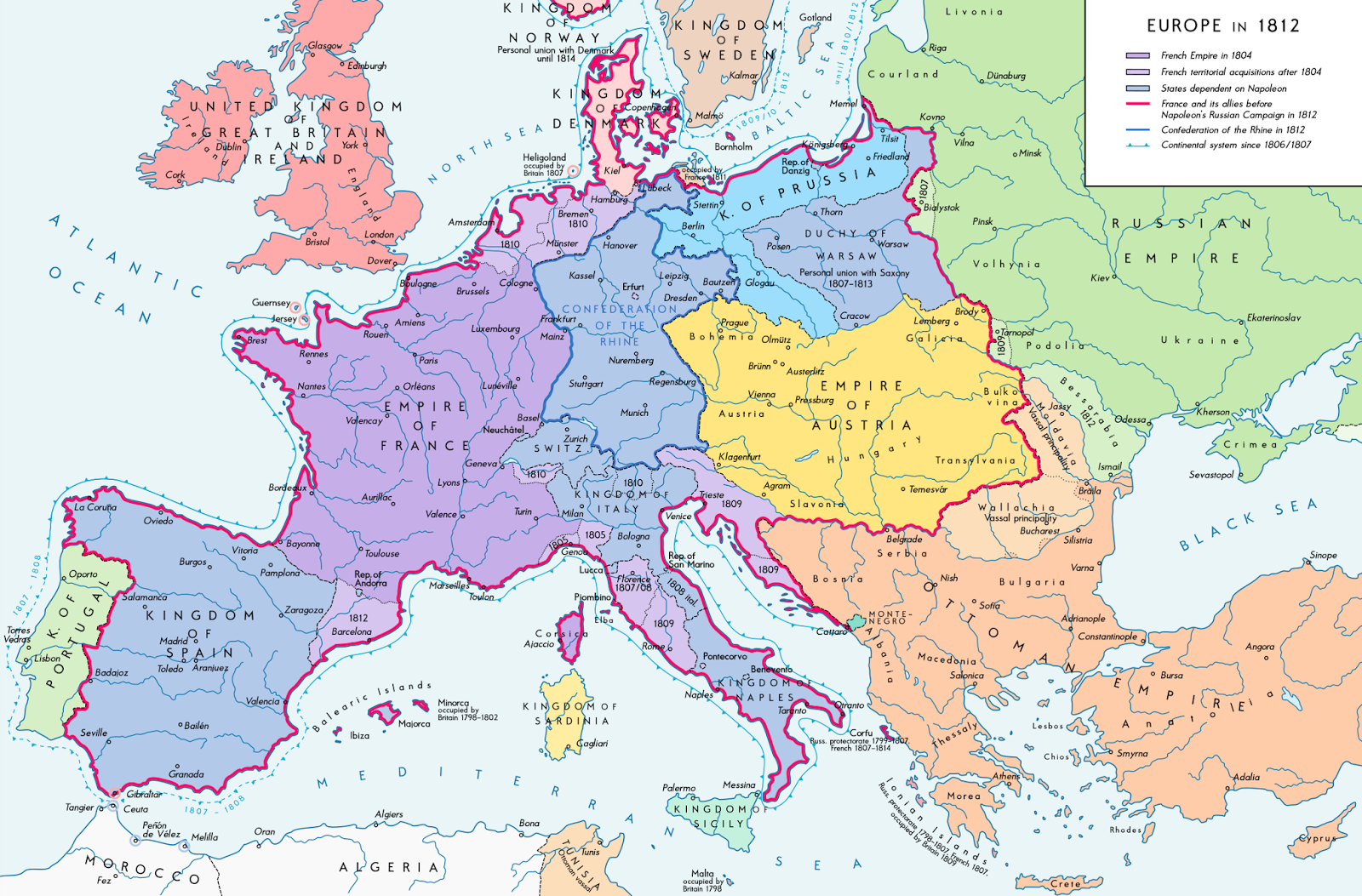 europe in 1812 allies of napoleon are show with red border source