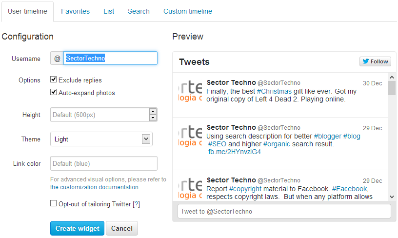 developer twitter timeline for blog or websites