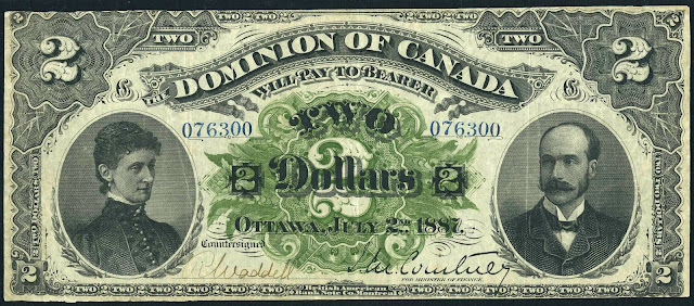 Dominion of Canada 2 Dollars Banknote 1887 Marquis and Marchioness of Lansdowne