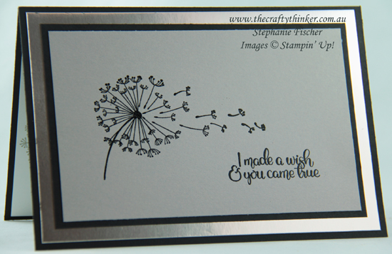 #thecraftythinker  #stampinup  #cardmaking  #rubberstamping  #dandelionwishes #masculinecard , Dandelion Wishes, Masculine card, Black & Grey, CAS, Stampin' Up Australia Demonstrator, Stephanie Fischer, Sydney NSW