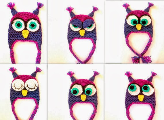 Cute Designs Owl Hat Sleepy Owl Hat Angry Owl Hat Cross Eyed