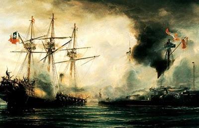 Imagen del Combate de Angamos a color