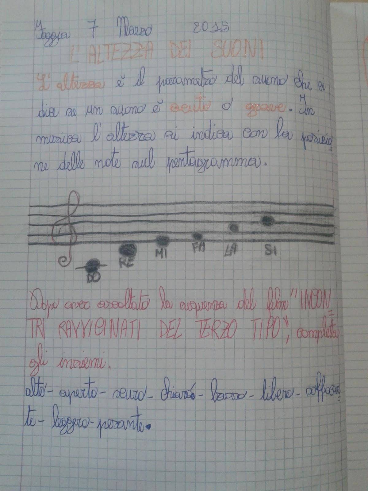 il quaderno intero di musica di quinta