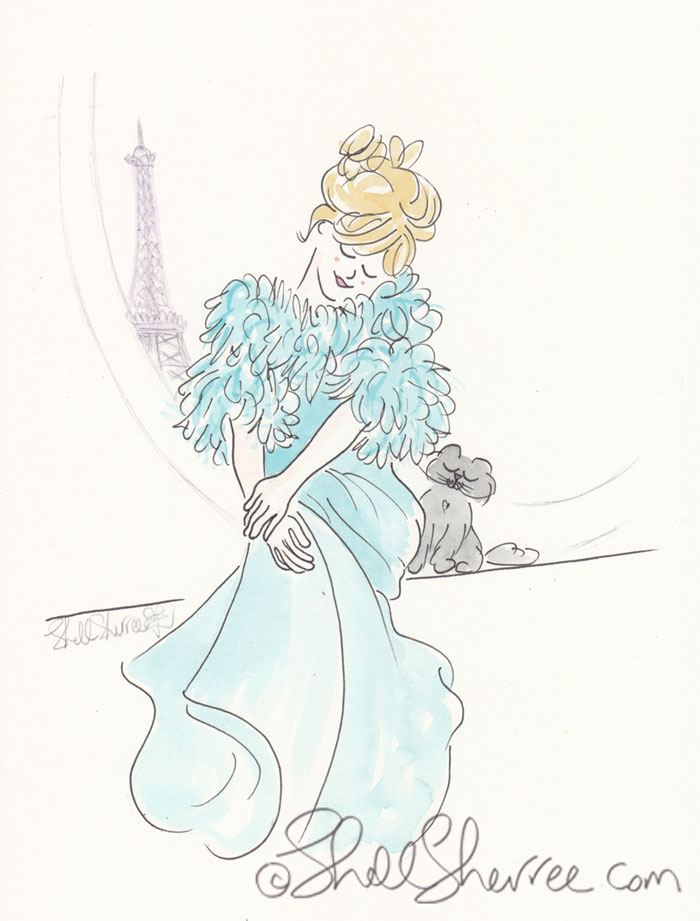 Illustration : Brigitte, Aqua Fluffiness and the Eiffel Tower © Shell-Sherree