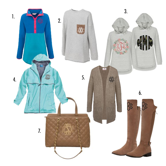 sweatshirts and rain jacket and purse and boots