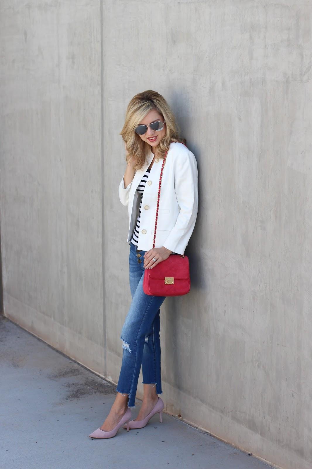 women fashion - blazer and jeans - pink
