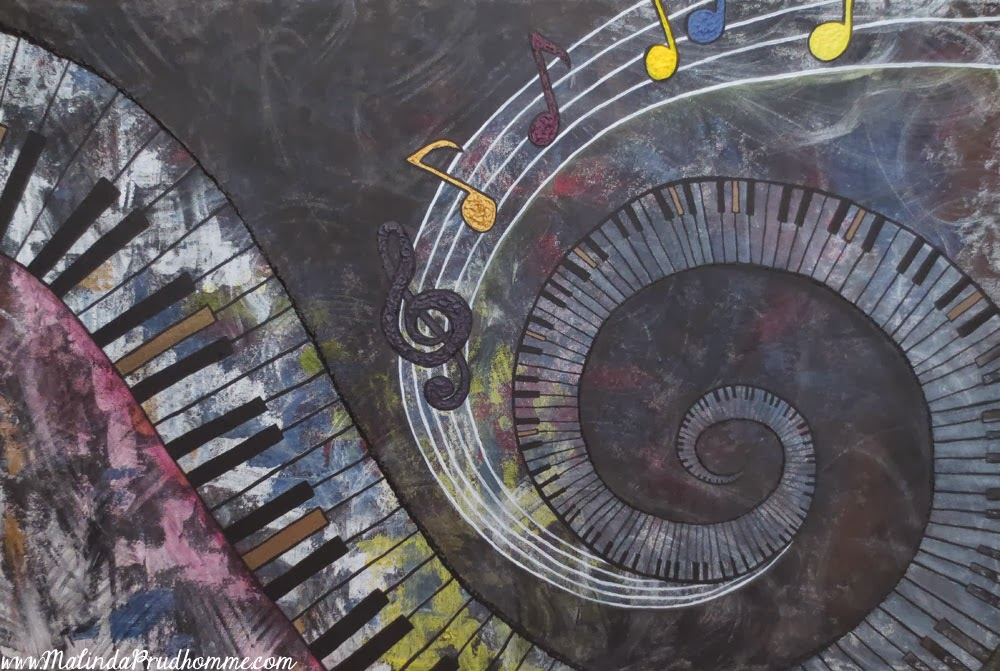 """Abstract Music Notes Art: Malinda Prud'homme: A Mixed Media Artist's Blog: """"Living A"""
