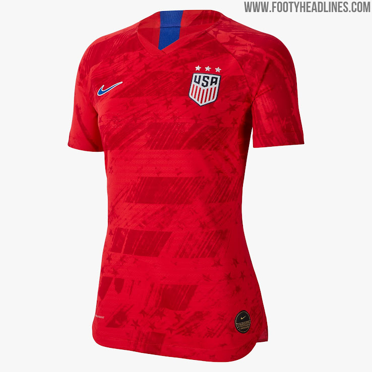 a9745a47bd0 The USA 2019 Women's World Cup away jersey is predominantly red (officially  'Speed Red') with blue ('Bright Blue') brandings.