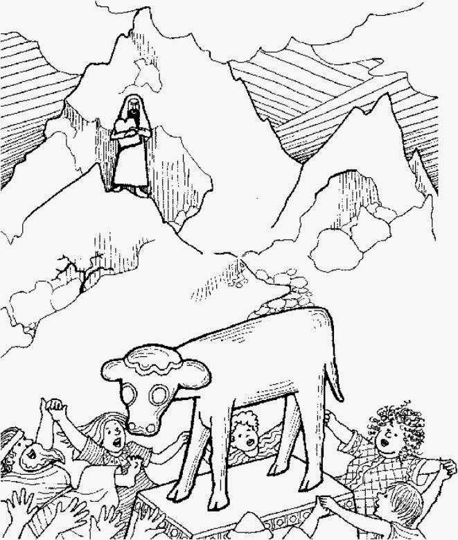 moses golden calf coloring pages - photo#8