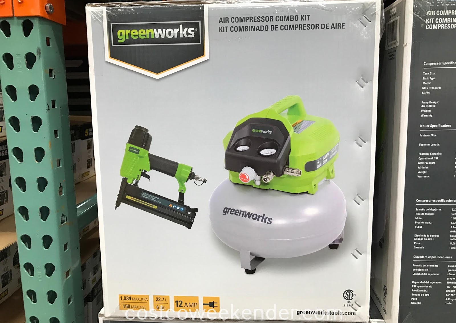 Costco 1144077 - Working in your garage just got easier with the Greenworks 6-gallon Air Compressor Combo Kit