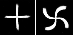 Cometary jets with cross shape and with swastika shape. (Drawing by Sagan and Druyan, 1985)