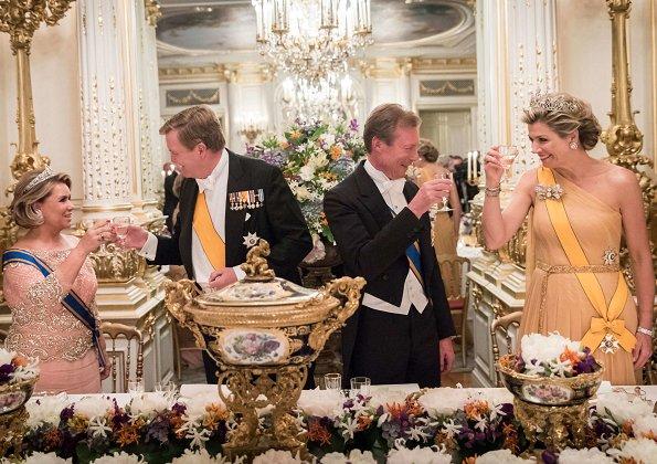 Grand Duke Henri and Grand Duchess Maria Teresa held a state banquet. Princess Stéphanie and Prince Guillaume. Diamond Tiara and earrings