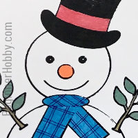 A small image of the snowman in color