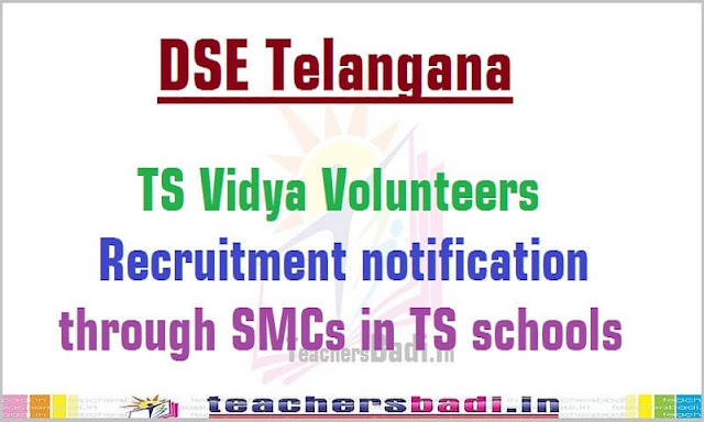 TS Vidya Volunteers,vvs,recruitment,ts schools 2016