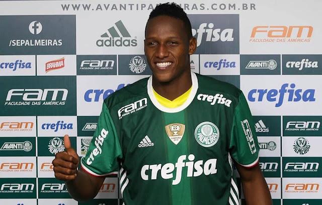 Barca to sign Yerri Mina from Palmeiras in future