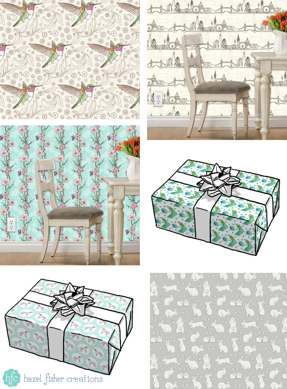 New designs on Spoonflower for June 2016, fabric, wallpaper and giftwrap by Hazel Fisher Creations