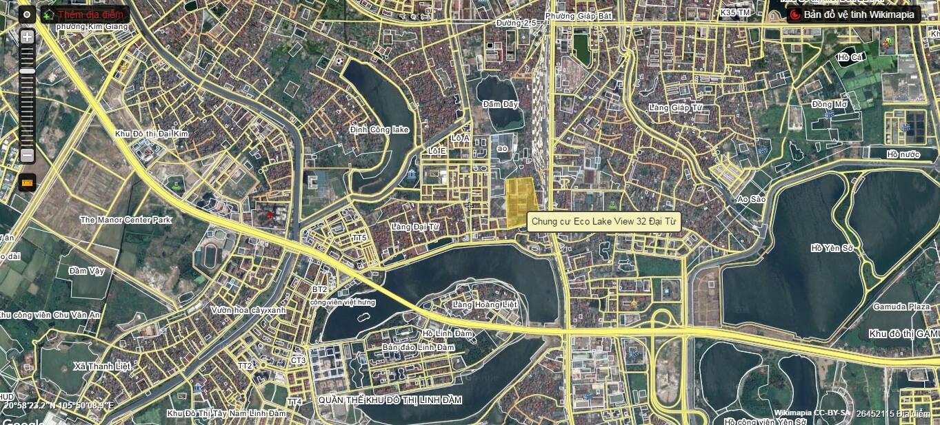 Vị trí dự án chung cư Eco Lake View 32 Đại Từ