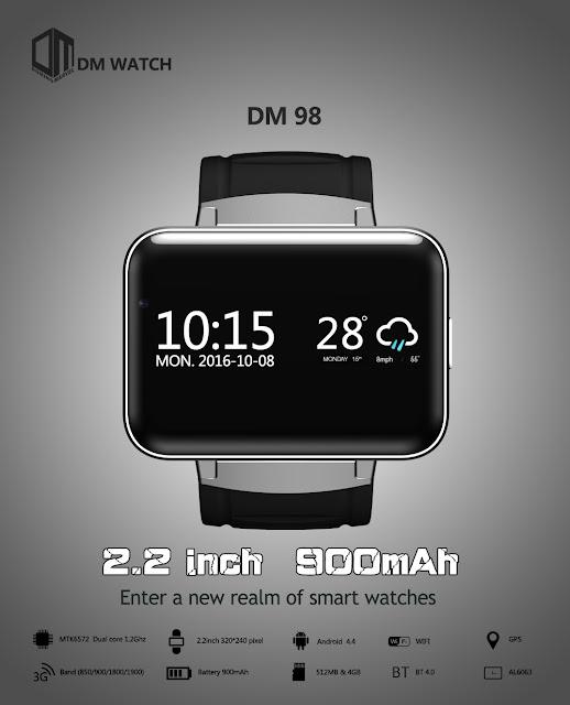 【DOMINO DM98】4:3の横長液晶搭載で3Gにも対応した個性的なスマートウォッチ。DOMINO DM98 3Gが登場
