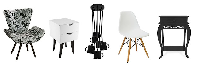móveis preto e branco