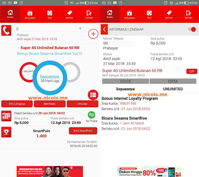 Smartfren Super 4G Unlimited Bulanan 60 Ribu