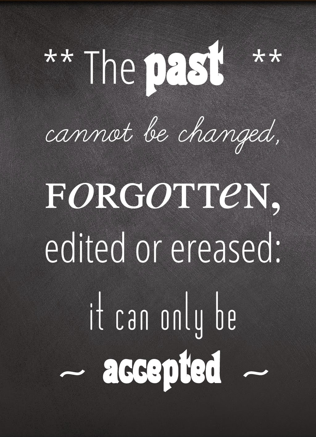 Quote of the Day :: The past cannot be changes, forgotten, edited oder ereased: it can only be accepted