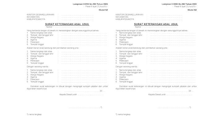 salah satu form untuk mengurus surat numpang nikah