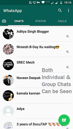 Both individual and group chats can be seen