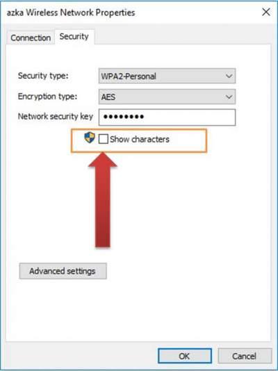 network status show characters di windows 10