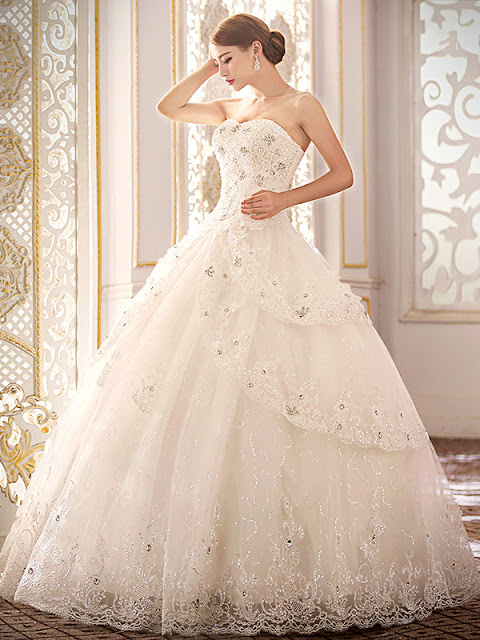 Classy Sweetheart Beading Appliques Lace-Up Ball Gown Wedding Dress (11341891)