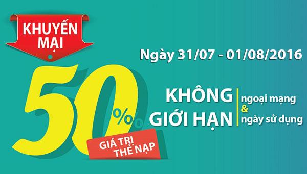 Viettel khuyến mãi 50% giá trị thẻ nạp ngày 31/07 và 01/08/2016