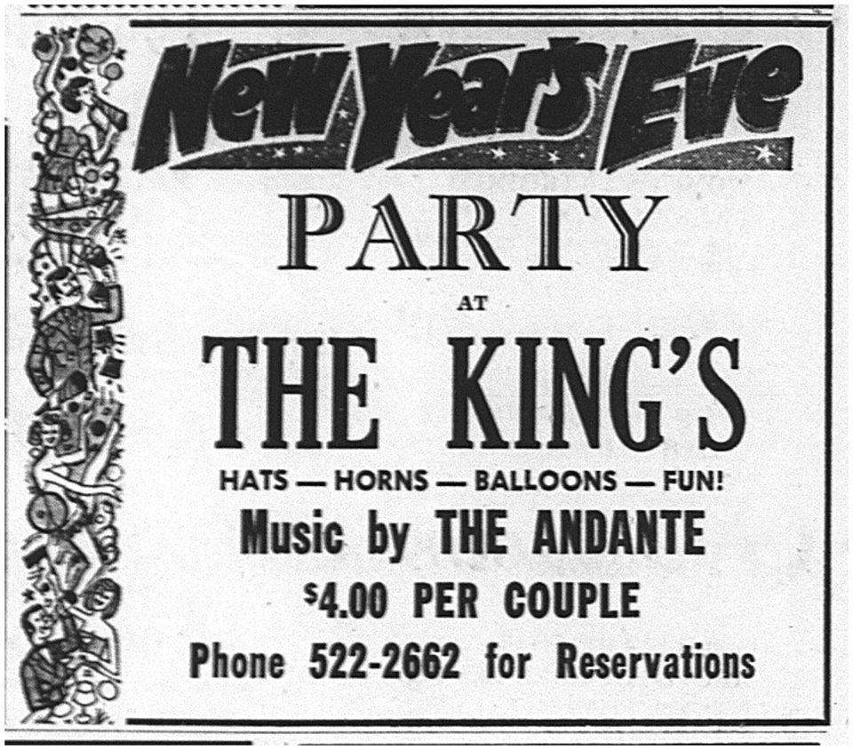 6d8197368f9d4 Advertisement for The Andante New Years Eve Dance at The Kings Hotel,  Regina (Regina Leader-Post, 26 December 1970)