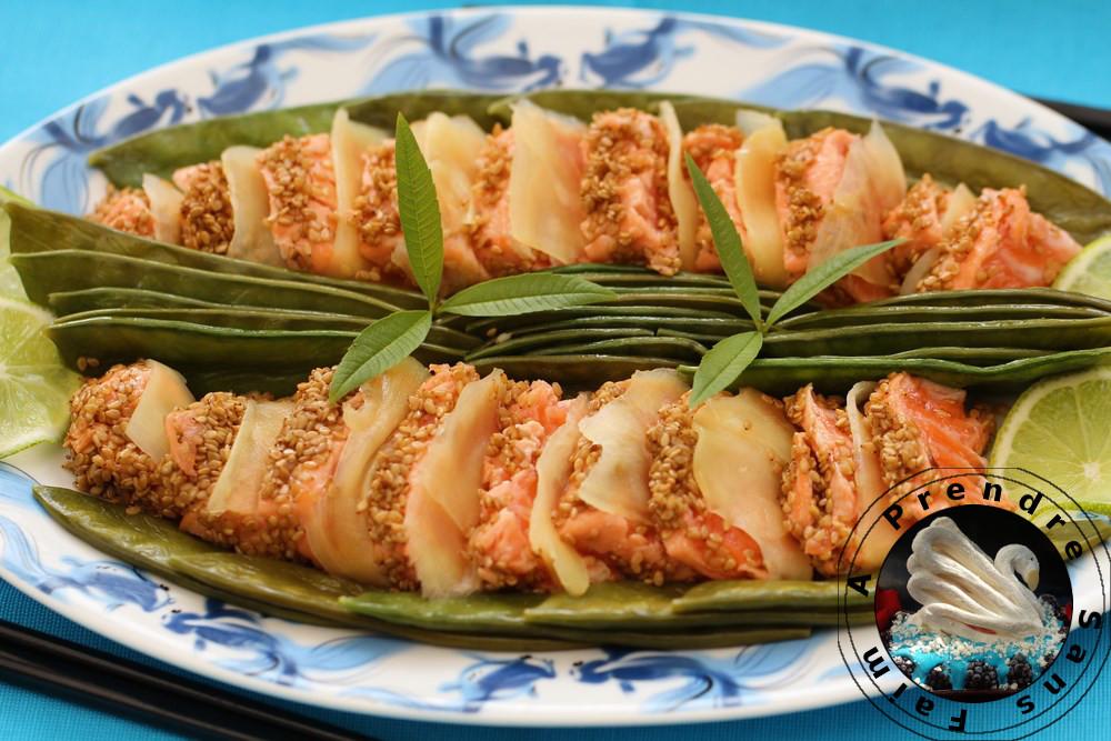 Tataki saumon sésame au gingembre (pas à pas en photos)