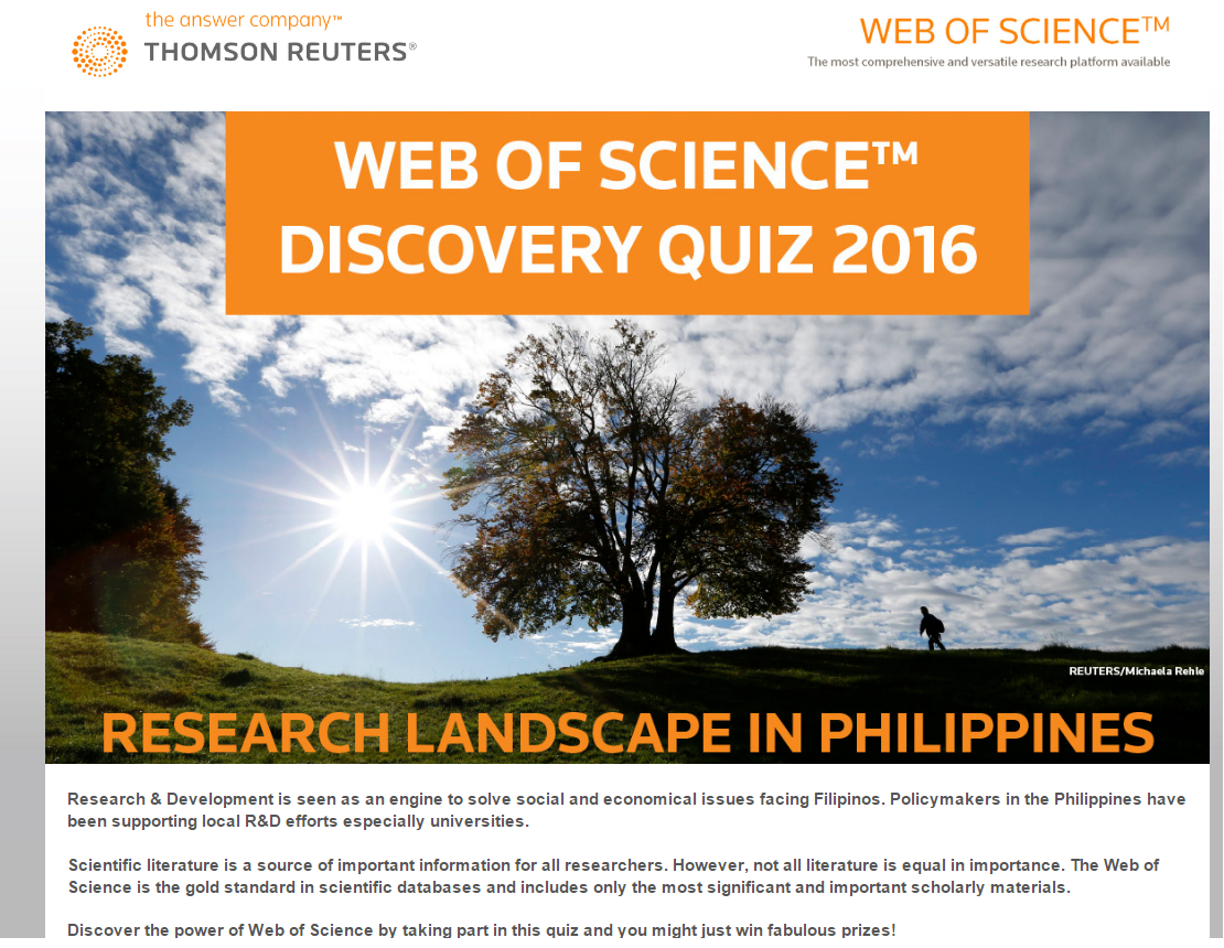 Library Newsette: Web of Science™ Discovery Quiz 2016 (Period 3)