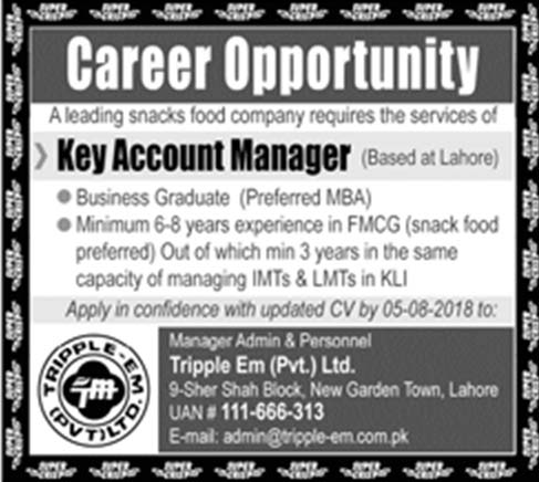 Accounts Manger  Required in Tripple Em Pvt Ltd