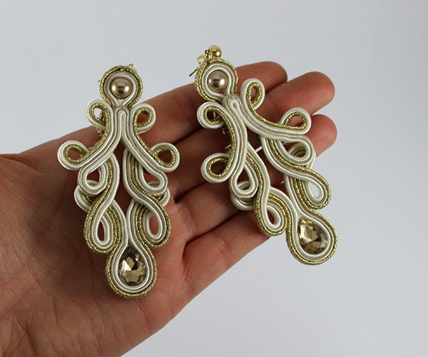 Openwork lace gold and beige soutache earrings