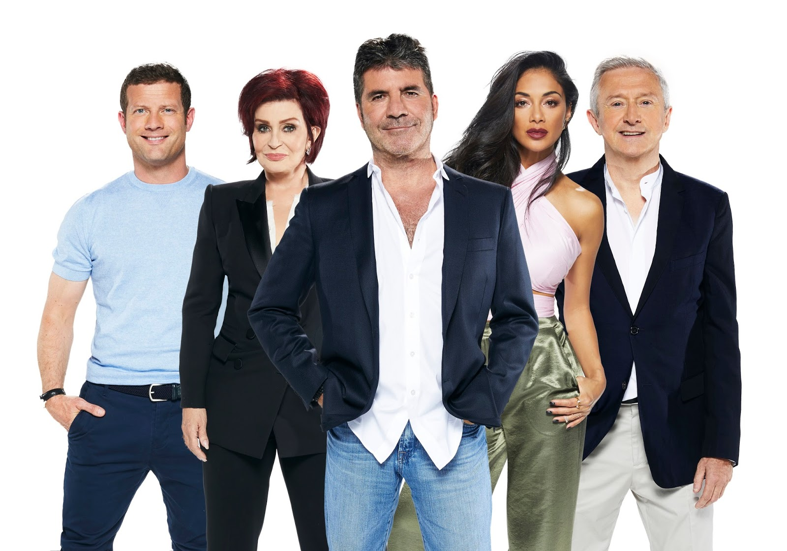 From Left The X Factor Uk Host Dermot O Leary With Judges Sharon Osbourne Simon Cowell Nicole Scherzinger And Louis Walsh