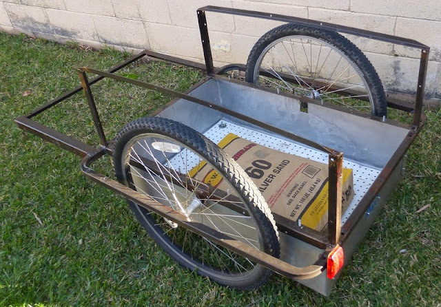 bicycle trailer with 100 pounds of sand