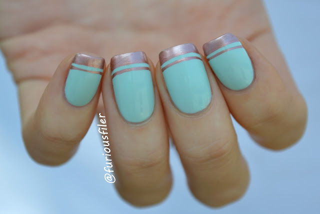 #31dc2015 mint green nails french tip metallic