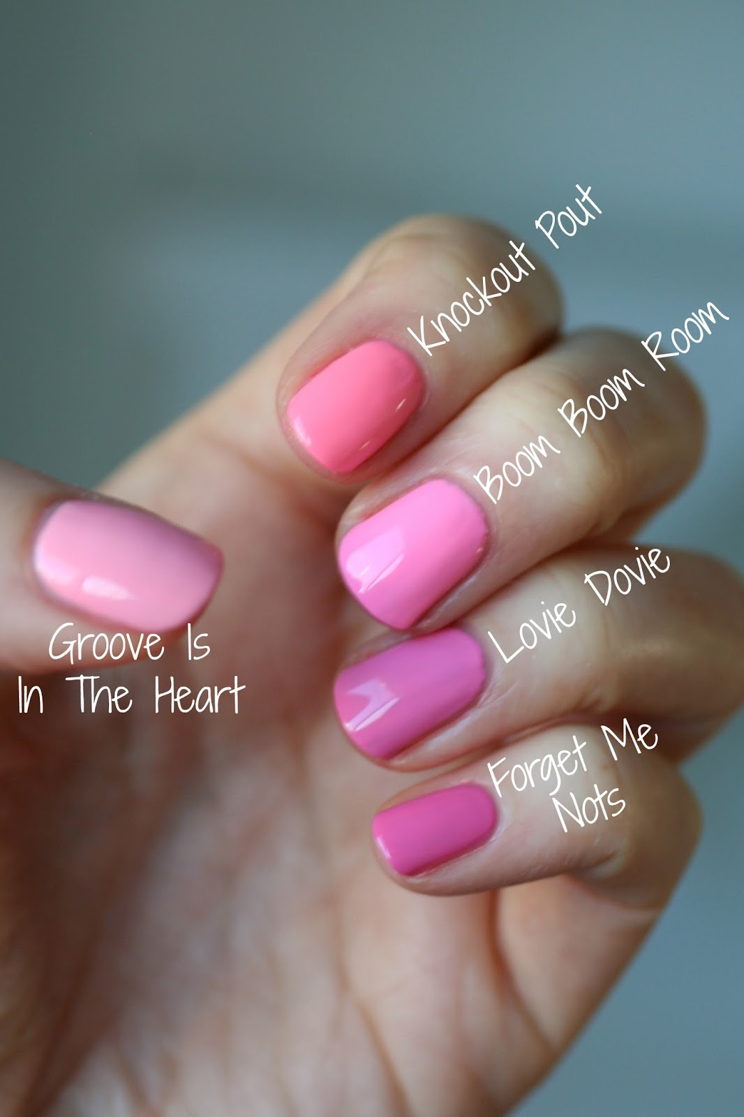 Essie Bubble Gum Pinks Comparison : Groove Is In the Heart, Knockout ...
