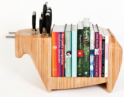 knife rack, book holder, and cutting board - shaped like a bull