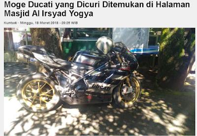 Ducati EVO 484 B 6532 WMI ditemukan