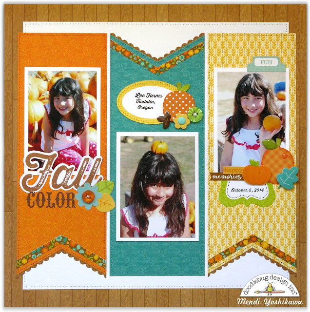 Doodlebug Design Flea Market Fall Pumpkin Patch Scrapbook Layout by Mendi Yoshikawa