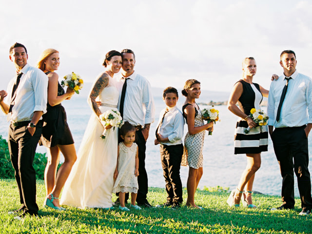bridal party at merrimans kapalua restaurant
