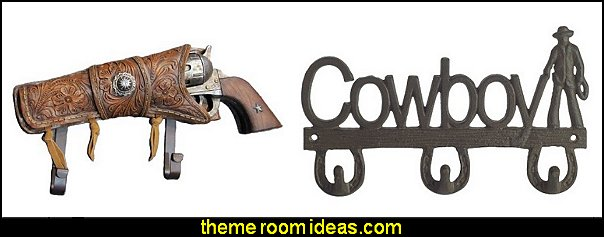 western wall hooks  Rustic Home Accents rustic western style decorating ideas - rustic decor - cowboy decor - Cowboy Bedding Western bedroom decor - horse decor - cowboy wall murals horse wall murals