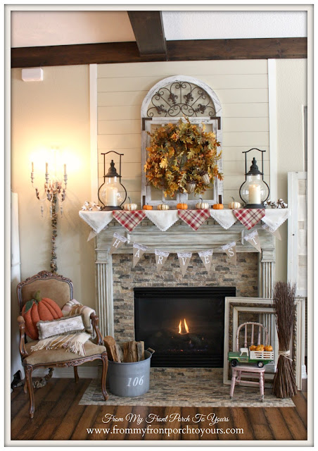 Farmhouse Style -Fall Mantel- From My Front Porch To Yours