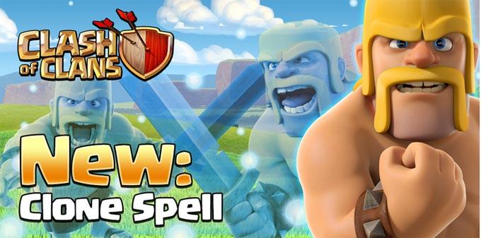 Clone Spell membuat pasukan ganda bagi trops yang berada dalam linngkaran spell clone